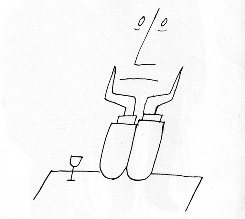 Homem no bar - Saul Steinberg